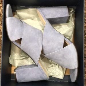 Cole Haan light blue chunky suede heels